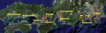 snapshot of the map showing our tour in Japan