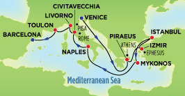 map of Mediterranean trip
