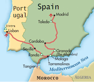 Tour map for Spain tour