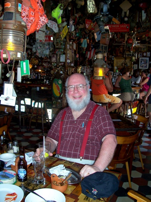 Fred enjoying Charlie's Bar, home of the nautical knick knack; San Nicolas, Aruba