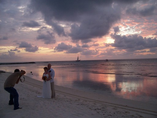 The perfect end to a perfect wedding on Aruba's northwest shore