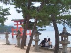 Enjoying the shore at Miyajima Shrine