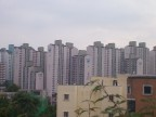 This set of apartments is visible from Hanyang Univ.