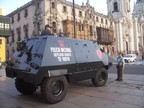 Police assault vehicle, preparing for a demonstration, Lima