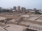Huaca Pucllana used to extend well beyond those modern apartment buildings, Miraflores, Lima