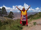 An incarnation of the Inca poses for the tourists at Kenko