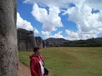 Rosemary surveys the ceremony/playing field at Sacsayhuaman