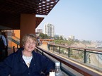 Susan enjoying lunch at the El Templo, Larcomar, Lima
