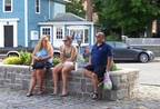 Three tired shoppers in Bearskin Neck, Rockport