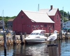 Seagull and powerboat pose with Motif #1, Rockport, MA