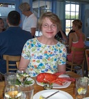 The lobster pots are not just for show; here S enjoys one at the Greenery, Rockport, MA