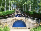 "A visitor ascends the descending ""Blue Steps"" fountains at Naumkaeg"