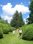 Children at play in the formal gardens at Tanglewood