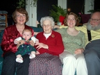 Four generations: Grandma, Grandkid Lindsay, Great-grandma, and Mommy