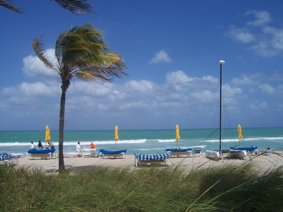 Bal Harbour Beach on a windy, sunlit day