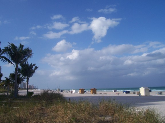 Clouds over deserted beach, Miami Beach