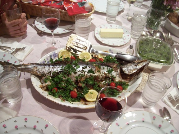 Dinner was two magnificent and delicious whole baked fresh fish