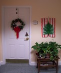 Mom decorated her door for the holidays at Croasdaile Farms