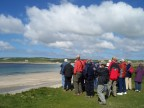 Listening to a short note on the bay at Skara Brae
