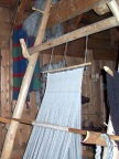 Weaving demonstration inside the longhouse at Borg
