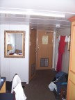 Our cabin; two narrow beds flank the photog; porthole to the rear