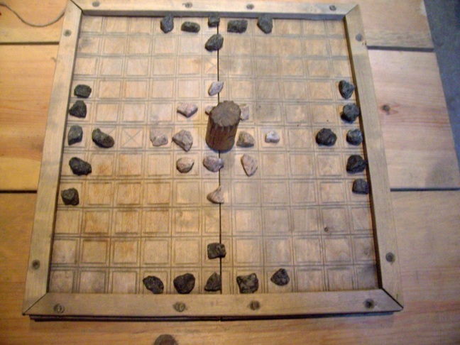 The game hnefatafl on display at Borg