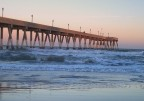 Twilight envelops the pier (Christmas, Wrightsville Beach, NC)