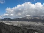 Mt. St. Helens at the right; lava flood plain below