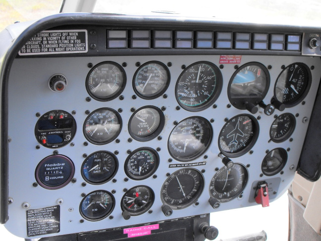 Helicopter control panel in Glacier National Park