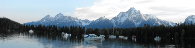 panarama of mountains from Jasper Lake