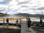 S strides along the boardwalk, Mammoth Hot Springs, Yellowstone