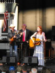 Dave Rawlings, Garrison Keillor, and Gillian Welch making music