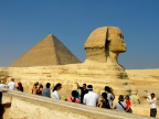 The sphinx and Khufu's pyramid