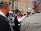 Guide Galila talks outside the Church of the Holy Sepulchre