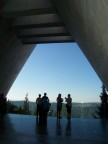 Visitors sharing the exit portico of the Holocaust History Museum, Yad Vashem, Jerusalem