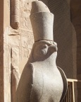 The hat signifies reign over both northern and southern Egypt; Hathor at Edfu temple