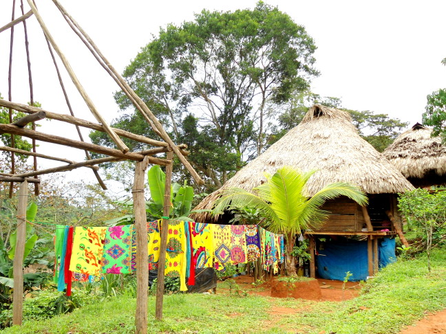 The colorful wash is out to dry at the Embera village thatch-roofed hut - Panama
