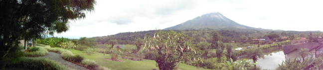Panoramic view of Arenal Volcano from Montana de Fuego lodge