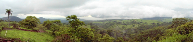 Vista above Guanacaste Province savannah - Cowboy country in north of Costa Rica