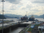 Two container ships entering Miraflores Locks on the Panama Canal