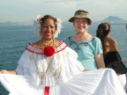 Posing in traditinal costume on our boat heading for the Panama Canal