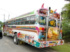 Gaily painted private buses provide cheap transportation in Panama City