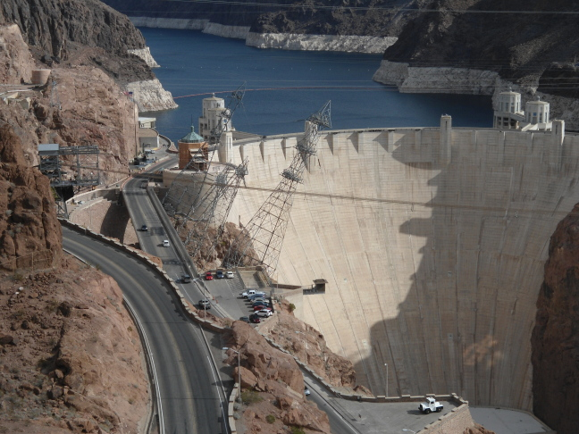 Hoover Dam showing the canted tower bring power up from the generators far below