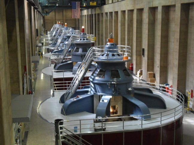 The eight generators on the west side of Hoover Dam (Eight more on the East)