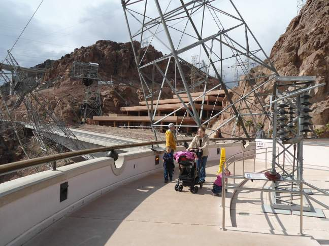 Canted power tower at Hoover Dam. The insulator exhibit says the voltage is roughly 14,000 times the number of insulators.