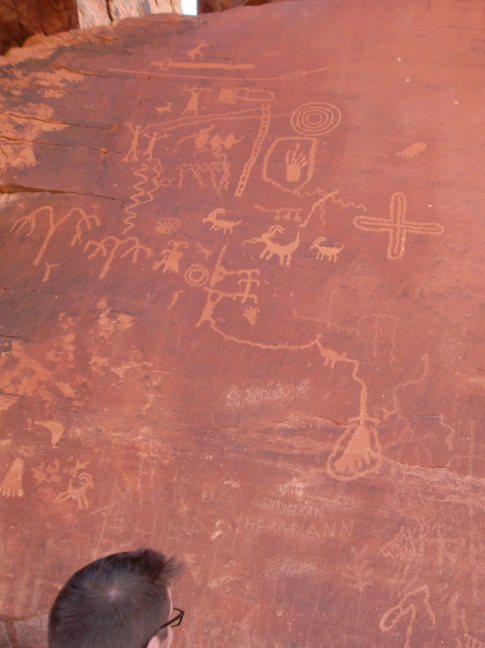 Petroglyphs on Atlatl Rock in the Valley of Fire. I suspect they are an actual map, not some phantamagoria as is usually claimed.