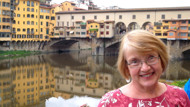 Susan's sweetest smile; in front of Ponte Vecchio, Florence