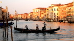 Gondoliers on the Grand Canal at dusk, Venice