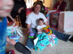 Zoe Blackall, with her dad Brian, is puzzled by a toy