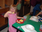 Eating cake at graduation from pre-school